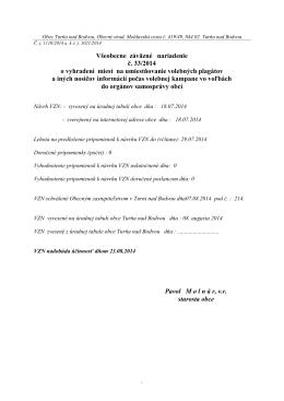 Všeobecne záväzné nariadenie č. 33/2014 o vyhradení miest na