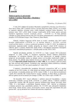 Tlačová správa k zatvoreniu Galérie Cypriána
