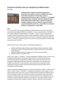Povinnosti vlastníka budovy - EkoEnergy