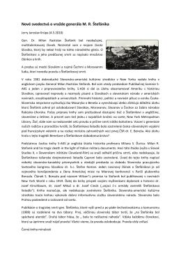 Nové svedectvá o vražde generála M. R. Štefánika