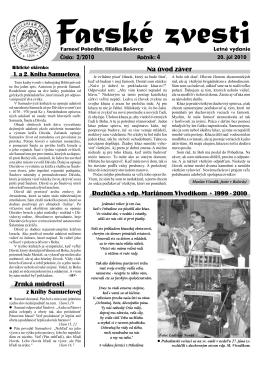 Farské zvesti č. 02/2010