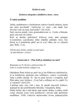 Krížová cesta - Kongregácia sestier sv. Cyrila a Metoda