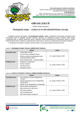 OBSAH LEKCIÍ - Slovenská agentúra životného prostredia
