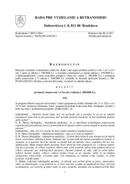 RP/111/2011 - Rada pre vysielanie a retransmisiu