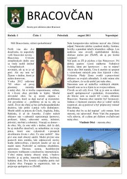 BRACOVČAN Noviny pre občanov obce Bracovce