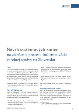 Návrh systémových zmien na zlepšenie procesu informatizácie