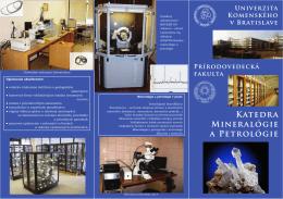 Propagačný leták katedry - katedra mineralógie a petrológie