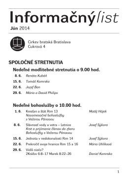 Informačnýlist Jún 2014 - Cirkev bratská v Bratislave