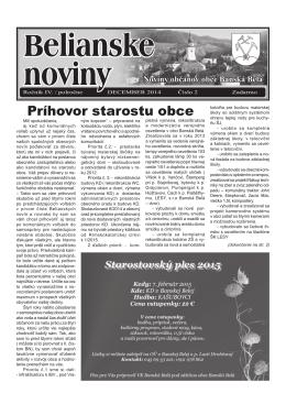 Belianske noviny ročník IV. číslo 2 z 12/2014