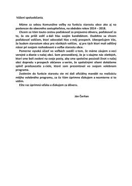 Poďakovanie novozvoleného starostu obce p. Jána Čerňana