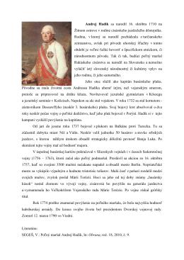 Andrej Hadik sa narodil 16. októbra 1710 na Žitnom