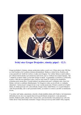 12. marec - Svätý otec Gregor Dvojeslov, rímsky pápež