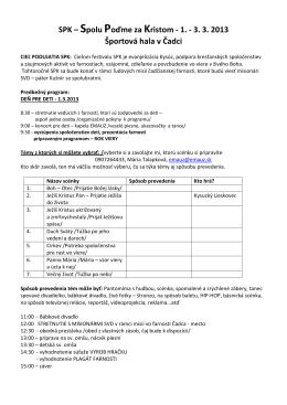 SPK – Spolu Poďme za Kristom - 1. - 3. 3. 2013 Športová