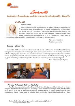 Infoletter Zariadenia sociálnych služieb Seniorville