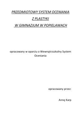 Przedmiotowy System Oceniania z przyrody dla klas IV-VI