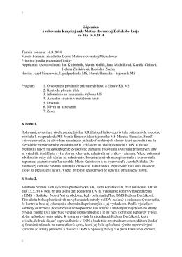 Zápisnica KR MS KK 16.9.2014