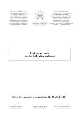 Etické usmernenia pre Európsky dvor audítorov