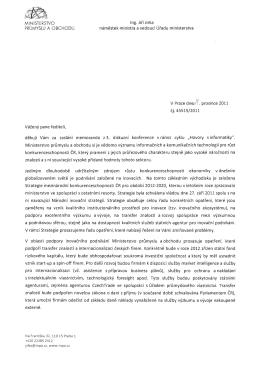 odpověď náměstka ministra průmyslu a obchodu na memorandum