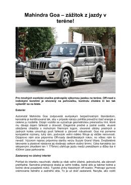 Mahindra Goa – zážitok z jazdy v teréne!