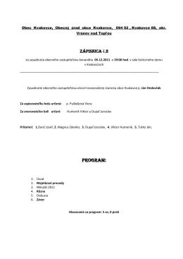 Program: - Kvakovce