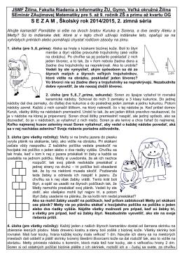 S E Z A M , Školský rok 2014/2015, 2. zimná séria