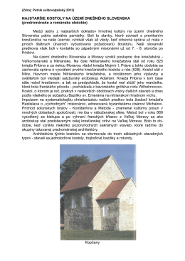 NAJSTARŠIE KOSTOLY NA ÚZEMÍ DNEŠNÉHO SLOVENSKA