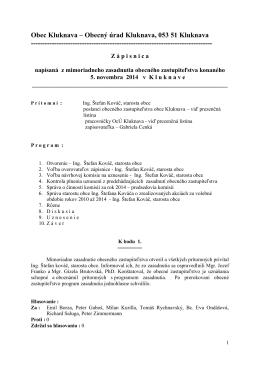 Zápisnica z mimoriadneho OZ - 05.11.2014
