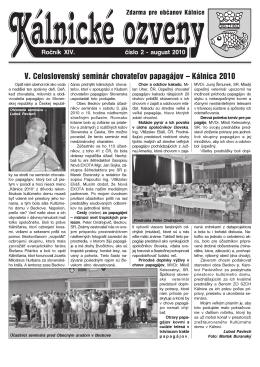 V. Celoslovenský seminár chovateľov papagájov – Kálnica 2010