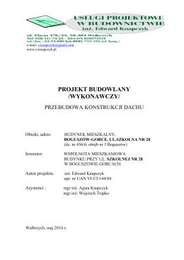 PROJEKT BUDOWLANY REMONT POKRYCIA DACHU EGZ. NR 3