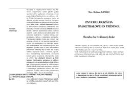 PSYCHOLOGIZÁCIA BASKETBALOVÉHO TRÉNINGU Sonda do