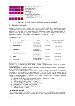 Správa o činnosti CIF za rok 2008