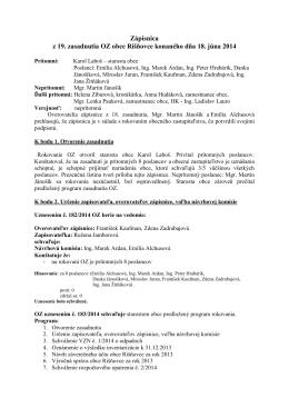 Zápisnica z 19. zasadnutia OZ obce Rišňovce konaného dňa 18