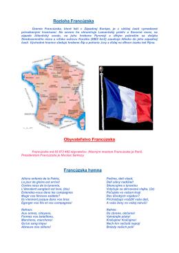 Rozloha Francúzska Obyvateľstvo Francúzska Francúzska hymna