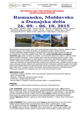 Rumunsko, Moldavsko, Dunajská delta 26.09. - 06.10.2015 - A