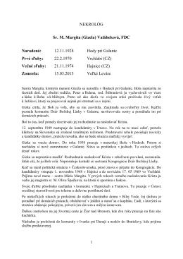NEKROLÓG Sr. M. Margita - Kongregácia Dcér Božskej Lásky