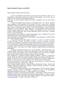 Správa činnosti výboru za rok 2014