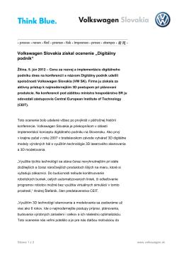 """Volkswagen Slovakia získal ocenenie """"Digitálny podnik"""""""