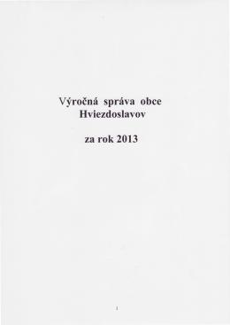 Vyroinf sprfva obce Hviezdoslavov za rok 2013