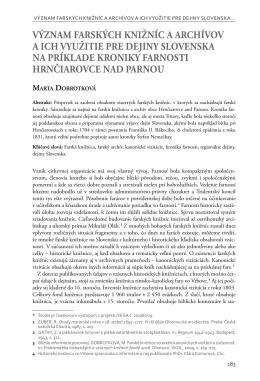 význam farských knižníc a archívov a ich využitie pre dejiny
