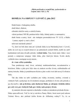 5. Homília na Levočskej púti 8.7.2012