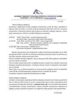2015-02-09 Oznam ÚVZ, vyhlásenie VV SOZ