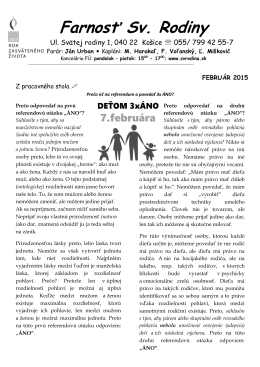 Bulletin na mesiac Február 2015