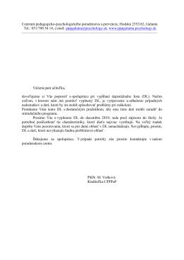 Depistážny list pre učiteľky MŠ