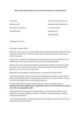Otvorený list člena KVL SR adresovaný ministrovi MPRV SR