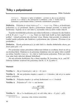 Triky s polynómami