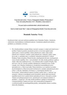 Dominik Tatarka: Texty - Ústav slovenskej literatúry SAV