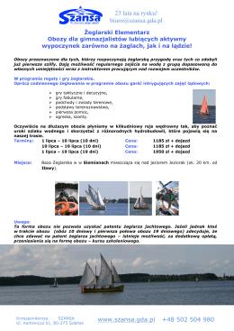 Karta zgłoszenia – obozy letnie 2014