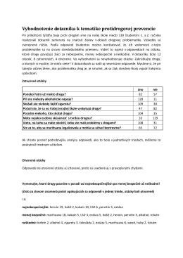 Vyhodnotenie dotazníka k tematike protidrogovej prevencie