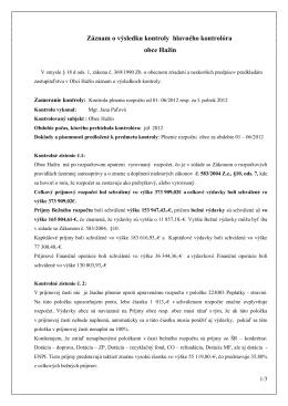 záznam o výsledku kontroly júl 2012