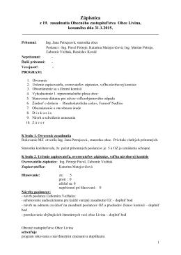 Zápisnica zo zasadnutia 31.01.2015